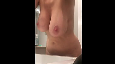 Wife's big boobs on hidden cam