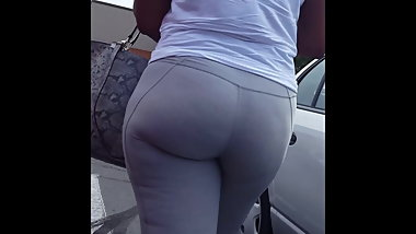 Candid thick booty MILF public ass parking lot and movies