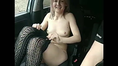 beautiful naked girl in a car in nature