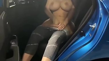 Step mom can't wait to get home so we fucked in the car - Public car dildo