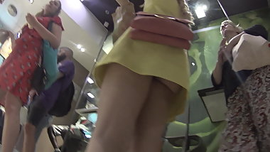 Blonde upskirt at McDonalds