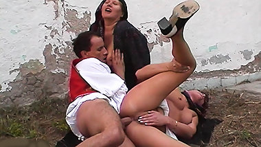 threesome anal orgy at the family farm
