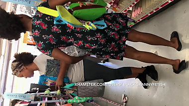 Ebony Teen Upskirt with Mom