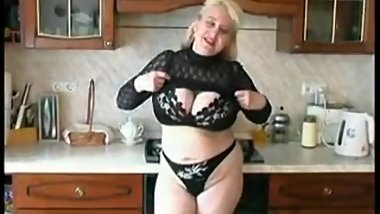 Blonde russian BBW mom Irina fucking in the kitchen