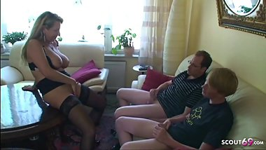 German Mom Teach Monster Cock Step Son and Friend to Fuck