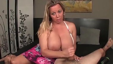 Naughty MOM with unreal big dick made young stud cum