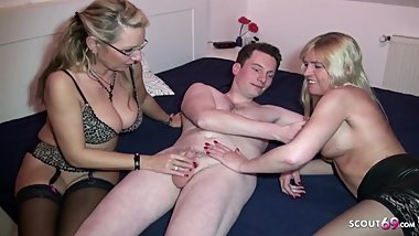 German Mom and Aunt Teach Young Guy How to Fuck in 3some