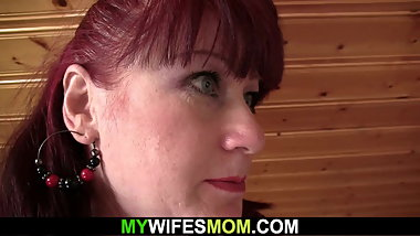 Redhead mother getting naked and toying before riding