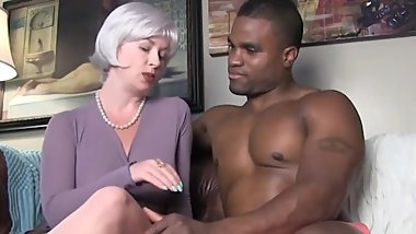 Naughty wife with big tits pleasing her black boss with monster cock