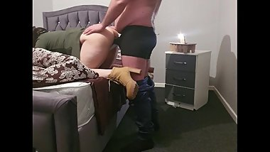 Stepson fucking hungover stepmom with 12 inch while dad is downstairs
