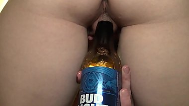 Hot Girl Fucks Beer Bottle