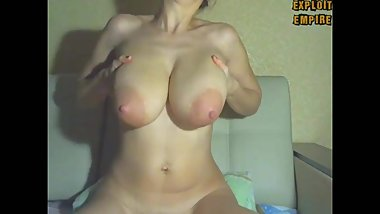 MILF shaking boobs, bouncing tits and stroking breast