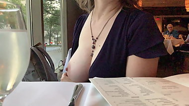 Mom flashes boob in public