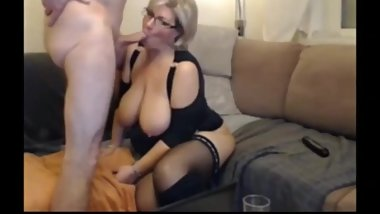 Naughty wife with huge natural tits sucks and fucks while husband gone