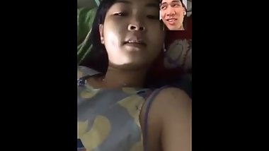 cute girl video call with her boyfriend