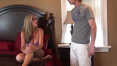 Naughty mommy with big saggy tits with young boy