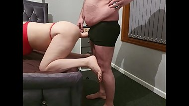 Stepson fucking Bulgarian stepmom while dad next door