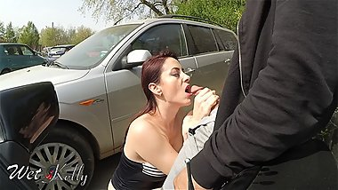 Slutty milf giving a head in a public parking lot. Kinky Mylf
