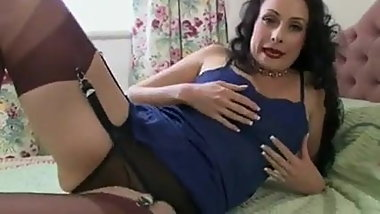 Brown Stocking Slut Plays With Her Cunt
